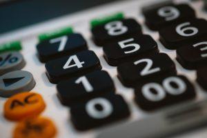 close up of black calculator keys