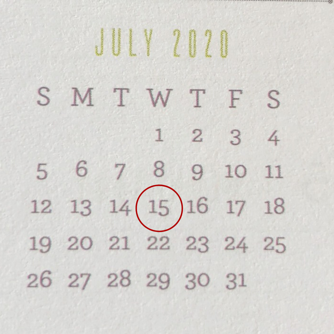July 15 date circled as tax deadline on 2020 calendar