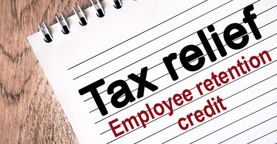 tax relief employee retention credit words on notepad