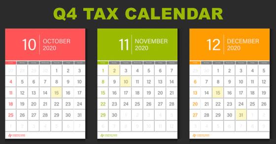 Q4 Tax Calendar for 2020