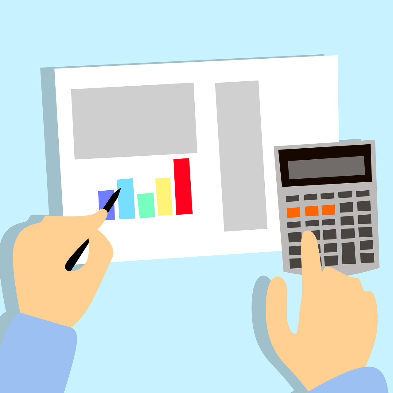 cartoon of hands working on taxes with calculator and spreadsheet